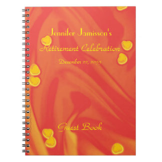 Orange, Yellow Hearts Retirement Party Guest Book