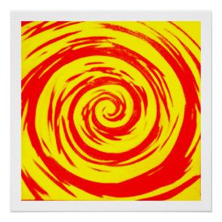 Orange & Yellow Hypnotic Swirl Art Perfect Poster
