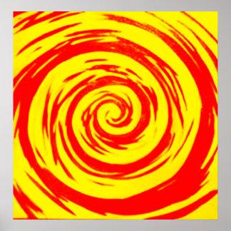 Orange & Yellow Hypnotic Swirl Art Poster