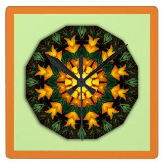 Orange Yellow Iris Nature 004 02, Flower-Mandala Square Wall Clock