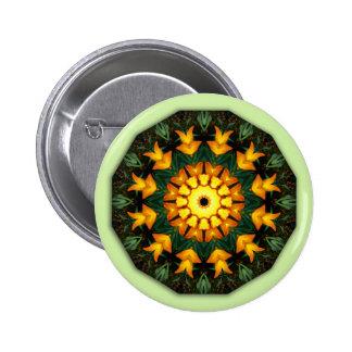 Orange Yellow Iris Nature, Flower-Mandala 2 Inch Round Button