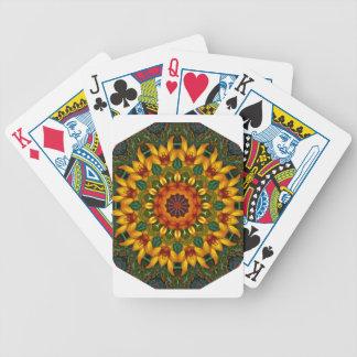 Orange Yellow Iris Nature, Flower-Mandala Bicycle Playing Cards