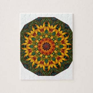 Orange Yellow Iris Nature, Flower-Mandala Jigsaw Puzzle