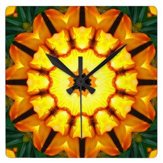 Orange Yellow Iris Nature, Flower-Mandala Square Wall Clock