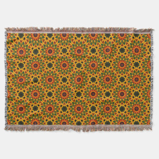 Orange Yellow Iris Nature, Flower-Mandala Throw