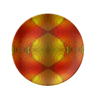Orange Yellow Modern abstract Porcelain Plate