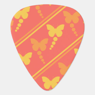 Orange Yellow Pink Butterflies Dots Stripes Print Guitar Pick