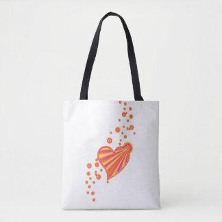 Orange Yellow Pink Rainbow Heart with Stars Tote Bag