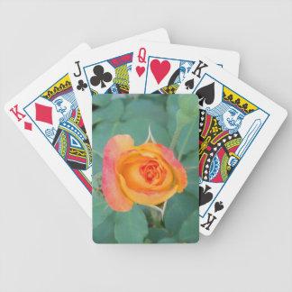 orange yellow rose flower bicycle playing cards