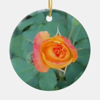 orange yellow rose flower ceramic ornament