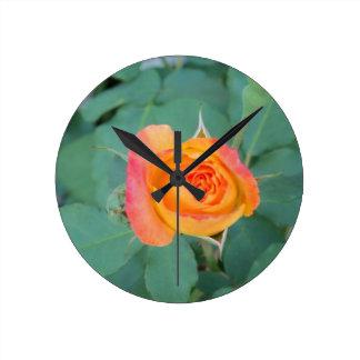 orange yellow rose flower round clock