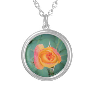 orange yellow rose flower silver plated necklace
