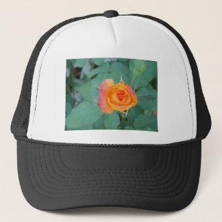 orange yellow rose flower trucker hat
