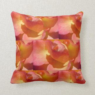 Orange Yellow Rose Pattern Throw Pillow