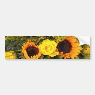 Orange Yellow Sunflower Roses Floral Bouquet Bumper Sticker