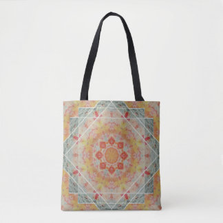 Orange Yellow Teal Southwest Autumn Flame Mandala Tote Bag