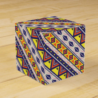 Orange Yellow Tribal Pyramids Print Favor Box