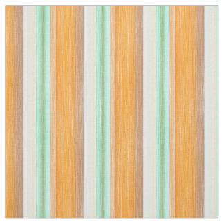 Orange Yellow Turquoise Watercolor Stripes Pattern Fabric