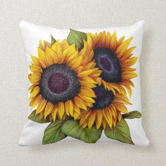 Orange yellow watercolor big sunflowers throw pillow