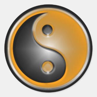 Orange Yin Yang Classic Round Sticker
