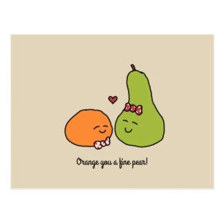 """Orange You a Fine Pear"" Postcard"