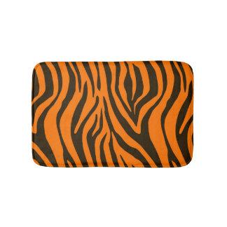 Orange Zebra Animal Print Pattern Bath Mat