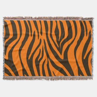 Orange Zebra Animal Print Pattern Throw Blanket