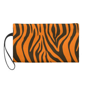 Orange Zebra Animal Print Pattern Wristlet