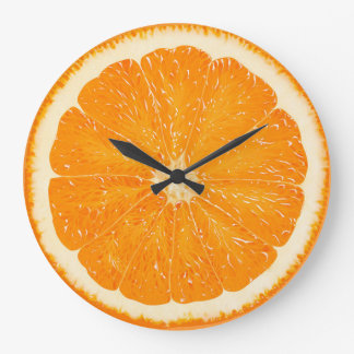 orange zest time large clock
