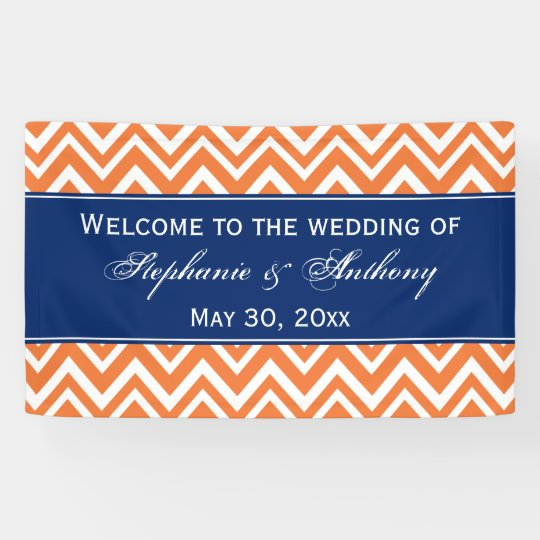 Orange Zigzag Pattern with Royal Blue Wedding Banner