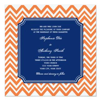 Orange Zigzag Pattern with Royal Blue Wedding Card