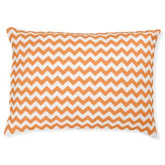 Orange Zigzag Stripes Chevron Pattern Large Dog Bed