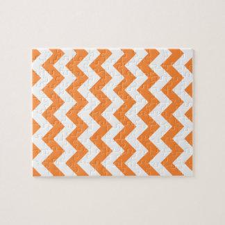 Orange Zigzag Stripes Chevron Pattern Puzzle