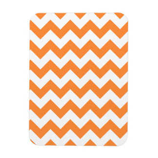 Orange Zigzag Stripes Chevron Pattern Rectangular Photo Magnet
