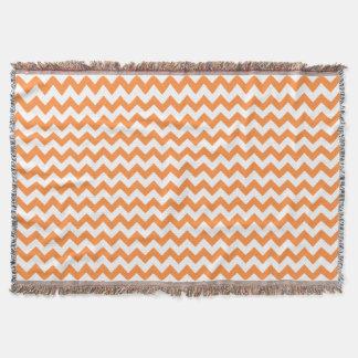 Orange Zigzag Stripes Chevron Pattern Throw