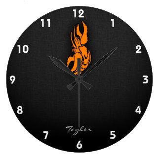 Orange Zodiac Cancer Sign Clocks