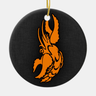 Orange Zodiac Cancer Sign Double-Sided Ceramic Round Christmas Ornament