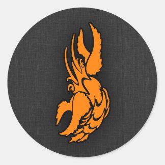 Orange Zodiac Cancer Sign Round Sticker