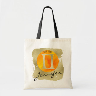 Orange Zodiac Sign Gemini on Gold Background Tote Bag