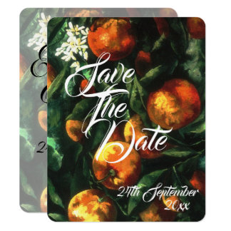 Oranges Botanical Wedding Save The Date Card