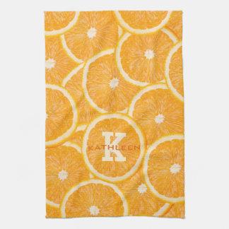 Oranges custom monogram hand towel