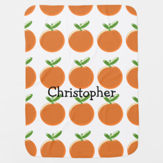 Oranges Just Add Name Baby Blanket
