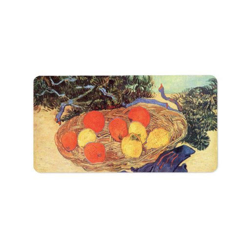 oranges, lemons and blue gloves by Van Gogh Personalized Address Label