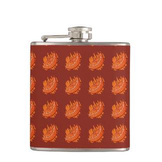 Oranges on red feild hip flask
