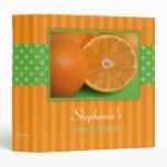Oranges Polka Dot Stripe Recipe Binders