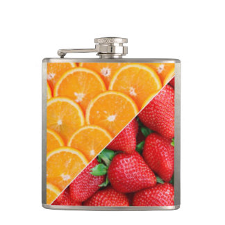 Oranges & Strawberries Collage Hip Flask