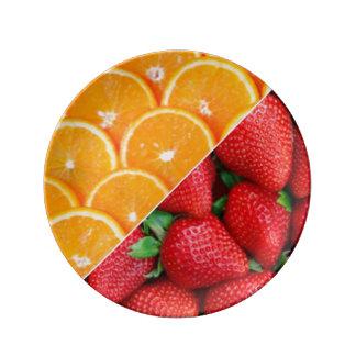 Oranges & Strawberries Collage Porcelain Plates