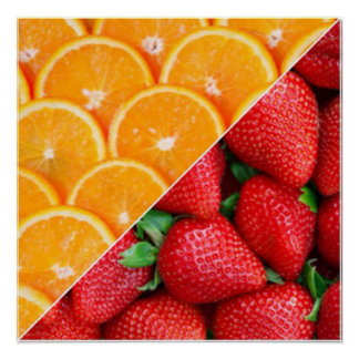 Oranges & Strawberries Collage Poster