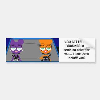 orangey & purple ATTITUDE bumper sticker