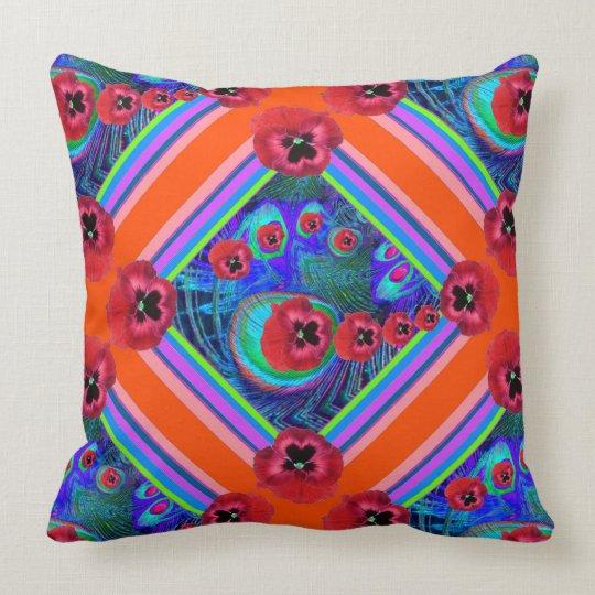 Orangey-Red Pansies Blue Pattern Art Throw Pillow